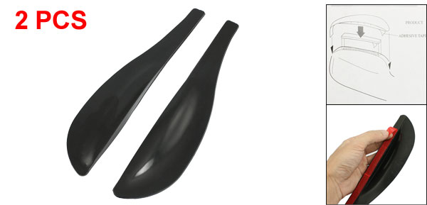 2 Pcs Side Mirror Rain Guard Sun Visor Vent Safe Clean Flexible Shield Black