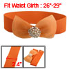 Lady Orange Meshy Bowknot Faux Rhinestone Stretch Belt Waistband for Dress