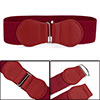 Women Dark Red Faux Leather Bowtie Hook Buckle Stretch Waist Cinc...