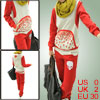 Ladies Red Pullover Long Sleeve Hoodie w Elastic Waist Pants Leis...