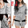 Ladies Light Gray Long Sleeve Drawstring Hood Top W Low Rise Shor...