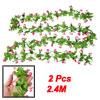 2 Pcs Pink White Mangnolia Green Leaf Wall Decorative Hanging Vine 2.4M