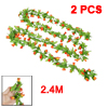 7.87Ft Length Artificial Red Orange Mangnolia Green Leaf Hanging ...