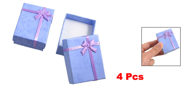 4 Boxes Bowtie Decor Rectangular Lavender Gift Cases Present Earring Holder