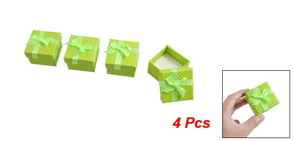 2 Pairs Bowtie Decor Dot Pattern Green Cardboard Gift Cases Present Boxes