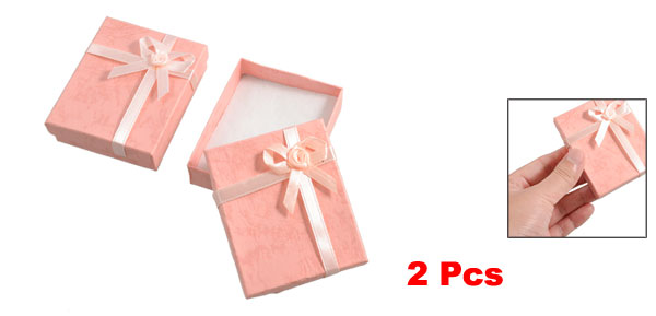 2 x Bowtie Accent Cardboard Gift Cases Present Boxes Bracelet Holder Peach Pink