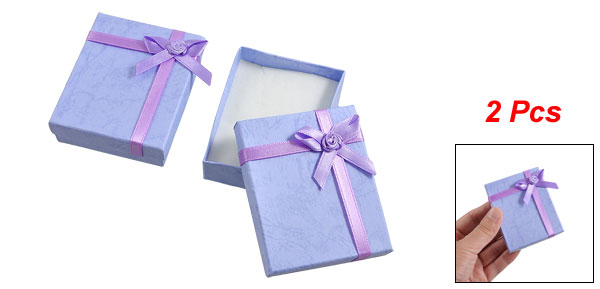 2 Boxes Bowtie Accent Cardboard Gift Cases Present Bracelet Holder Lavender
