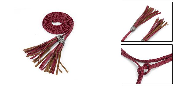 Tassel Accent Braided 1.7M Waist Belt Waistbelt Red for Ladies