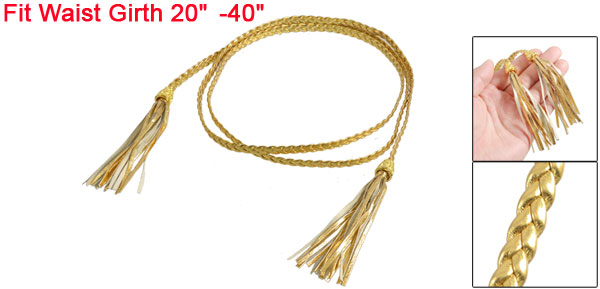 Women Tassels Beaded Braided Skinny PU Waist Belt Gold