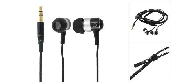 3.5mm Jack Soft Silicone Earbuds Black In Ear Earphone for iPhone 4GS iPad 3