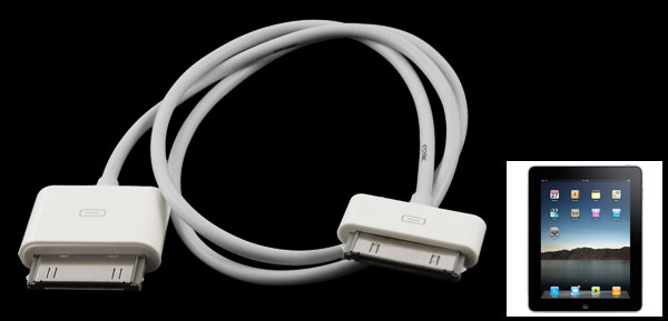 Male to Male Plug White Audio Stereo AUX Cable for iPhone to iPad