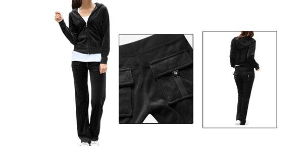 Ladies Long Sleeve Black Velvet Hoodie Outwear W Elastic Wasit Pants S