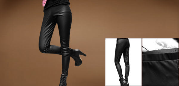 Ladies Strtech Slim Fit Cutting Black Faux Leather Leggings Pants XS