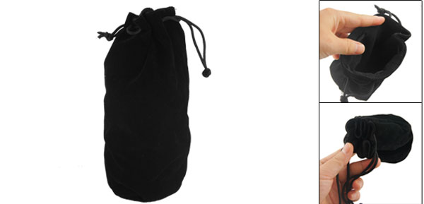Flannel Soft Camera Lens Protector Holder Carrying Pouch Bag Black