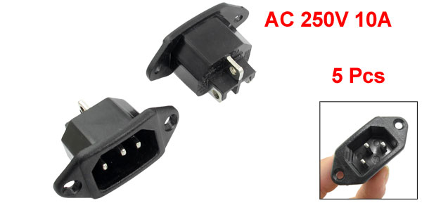 5 Pcs Electric Cooker Power Supply C14 Socket Adapter AC 250V 10A