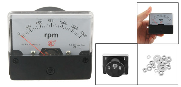 Black White Rectangle Shaped DC 10V 1mA 0-1800RPM Panel Meter