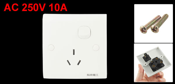 Button Control 250V 10A 3 Pin AU Socket Wall Plate Switch