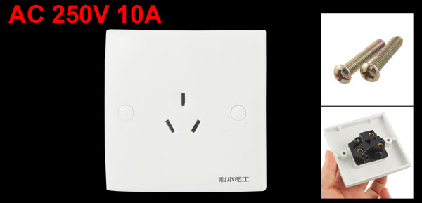 Wall Mount White Plastic Shell AU 3 Pin Outlet Plate Socket