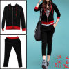 Ladies Black Front Slant Pockets Color Patchwork Hoodie Top W Cro...