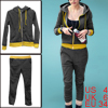 Ladies Gray Long Sleeve Hoodie Outwear W Elastic Waist Pants Suit...