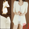 Women 3/4 Puff Sleeves Button Closed Long Blazer W...