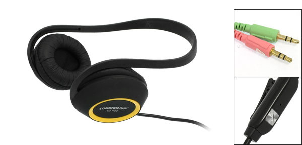 Black Yellow Plastic Foam Pad 3.5mm Plug Earphone Headphone for Mp3 Mp4
