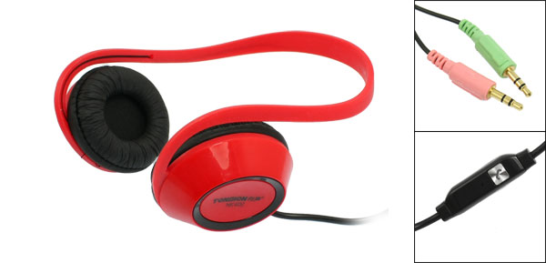 Black Red Plastic Foam Pad 3.5mm Plug Earphone Headphone for Mp3 Mp4