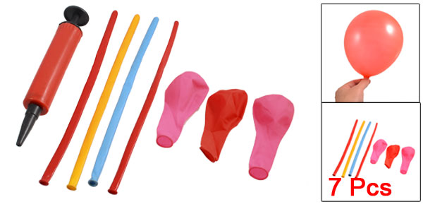 Party Decorative 7 Pcs Assorted Color Balloons Red Plastic Handheld Inflator Set