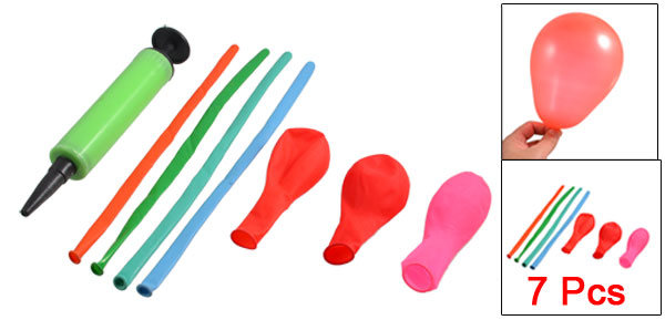Assorted Color Latex Balloon Green Plastic Handheld Inflator Air Pump Set