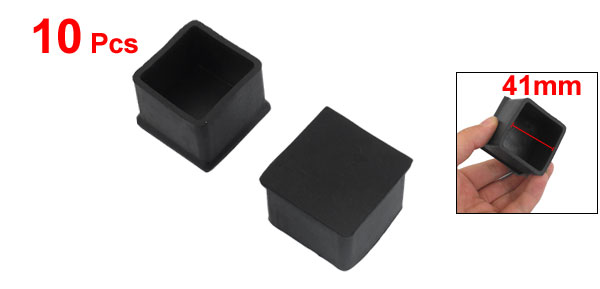 10 Pcs Black Squared Shaped Rubber Furniture Foot Protector