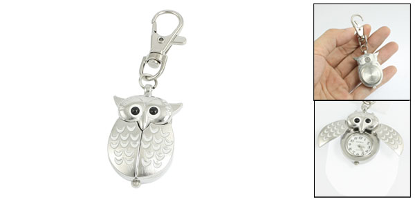 Metal Night Owl Pendant Lobster Clasp Keyring Watch Silver Tone White