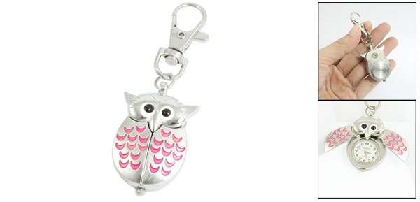 Silver Tone Pink Metal Owl Pendant Knob Adjustable Time Keyring Watch