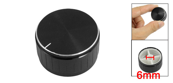 28mm x 16mm Plastic Potentiometer Control Volume Rotary Knob Cap Black