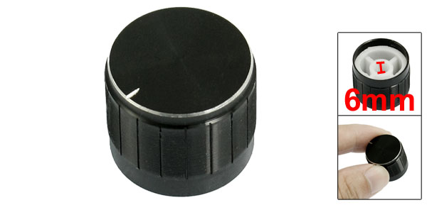 20mm x 17mm Plastic Potentiometer Control Volume Rotary Knob Cap Black