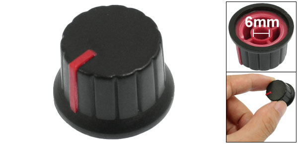 29mm x 15mm Plastic Potentiometer Control Volume Rotary Knob Cap Black Red