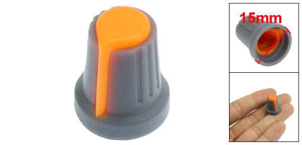 15mm x 17mm Plastic Potentiometer Control Volume Rotary Knob Cap Blue Orange