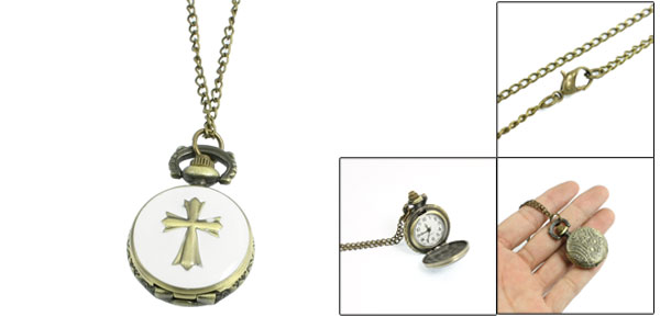 Ladies Metal Round Case Crossed Shape Pendant Necklace Watch Bronze Tone White