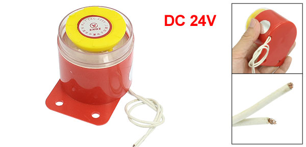 DC 24V Red Yellow Plastic Housing Alarm Buzzer Ringer Annunciator