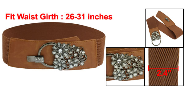 Woman Costume Flower Style Rhinestones Elastic Waist Belt Cinch Brown