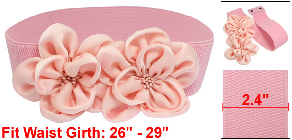 Women Pink Chiffon Double Flower Ornament Beaded Elastic Cinch Waist Belt Band