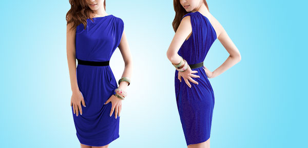 Deep Blue One Shoulder Sleeveless Cocktail Party Dress w Waistband for Ladies M