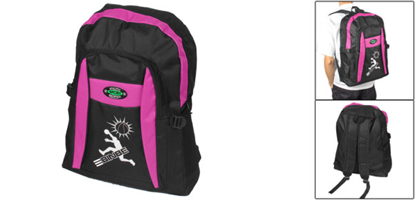 Black Fuchsia Wide Adjustable Shoulder Strap Zip Up Camping Backpack Bag