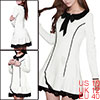 Women Doll Collar Lace Trim Flouncing Hem Mini Dress White M