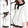 Ladies Doll Collar Long Sleeve Self Tie Bow Front Decor Mini Dres...