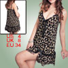 Lady Brown Black Leopard Prints Sexy Lingerie Dress w G-String S
