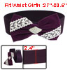 Lady Purple White Bowknot Decor Rhinestones Inlaid Stretchy Cinch...