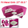 Woman Magenta White Bowknot Decor Rhinestones Inlaid Cinch Waist ...