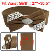 Lady Brown White Bowknot Decor Rhinestones Inlaid Stretch Cinch W...