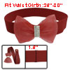 Lady Rhinestone Inlaid Gauze Bowknot Decor Elastic Cinch Waist Be...