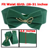 Green Flannel Bowknot Floral Style Rhinestones Cluster Elastic Ci...